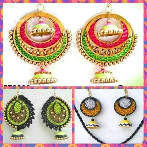 How To Make Paper Jewellery Jhumkas - quilling jewelry and key chains on paper