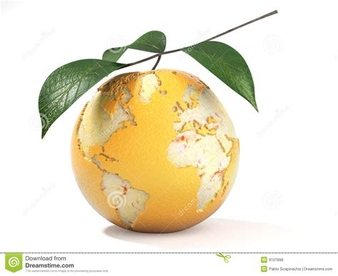 earthy orange earth map made on a peeled orange royalty free stock image