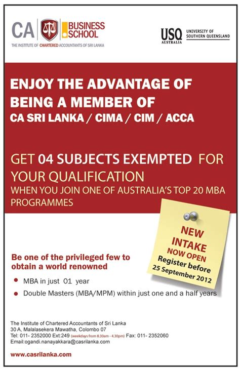 Of Colombo Mba Programme by Institute Of Chartered Accountants Of Srilanka Mba Intakes
