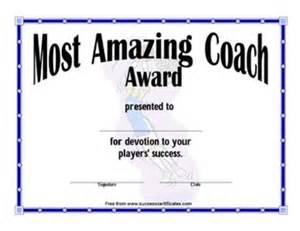 coach award certificate template
