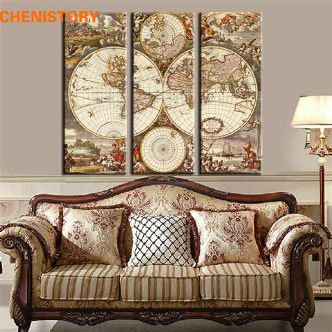 map home decor aliexpress com buy unframed 3 panel vintage world map