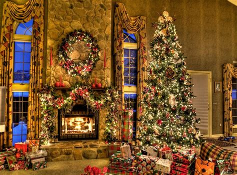 christmas room christmas tree and fireplace wallpapers pictures pics