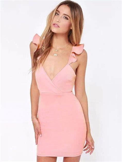 Lotus Leaf Pink Dress backless lotus leaf straps bodycon dress plus