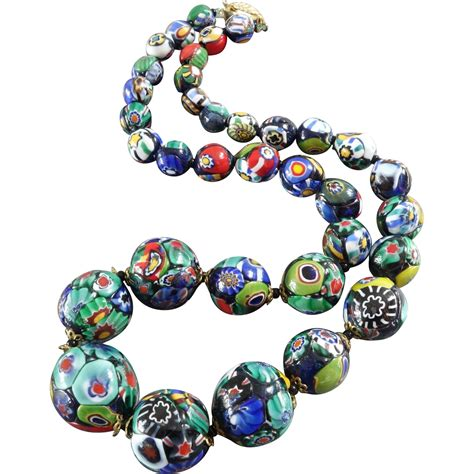 murano glass bead necklace 1920s venetian murano millefiori glass bead necklace from
