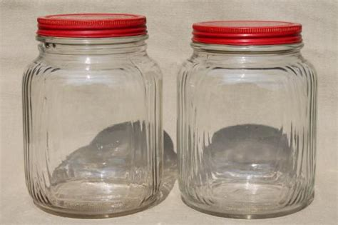 vintage glass canisters vintage metal kitchen canisters canister hoosier vintage glass jars w red painted metal lids