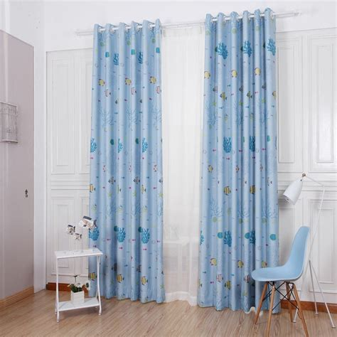 curtain rates high end cartoon blue printing high blackout rate living
