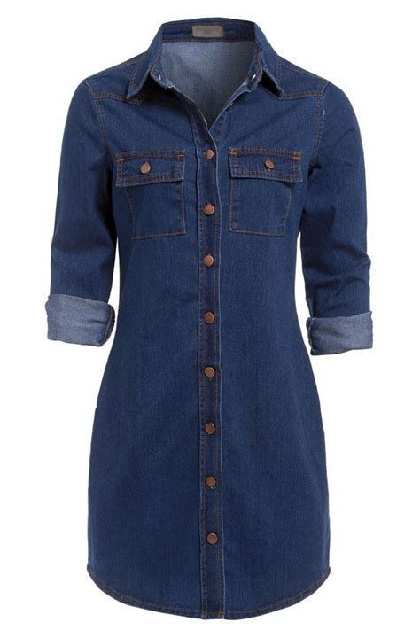 Button Cotton Shirt womens casual cotton button vintage sleeve denim