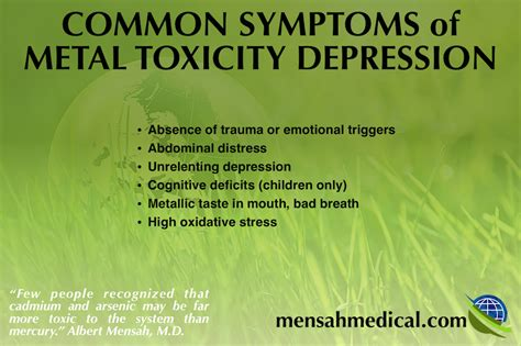 Common Detox Symptoms by Metal Toxicity Depression Mercury Arsenic Cadmium