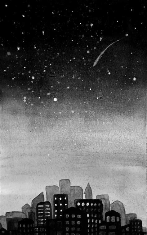 Starry Night City Scene Silhouette Stock Illustration