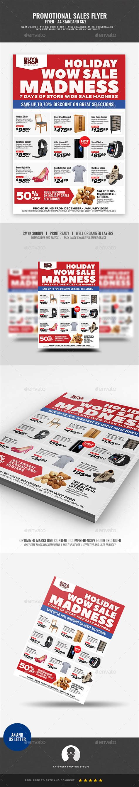 Product Sale And Promotional Flyer By Artchery Graphicriver Product Sale Flyer Template