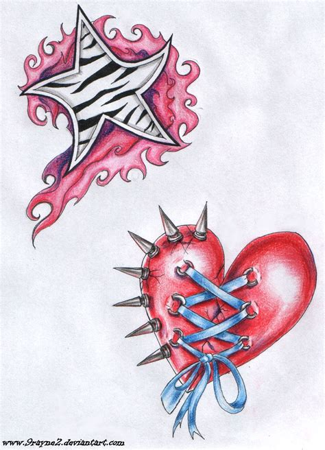 star and heart tattoo designs designs and symbol october 2009