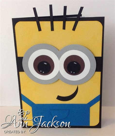Minion Gift Card - minion card made with various stin up punches card stock card papercrafting