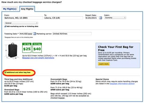 united baggage cost united airlines checked baggage fee international flights