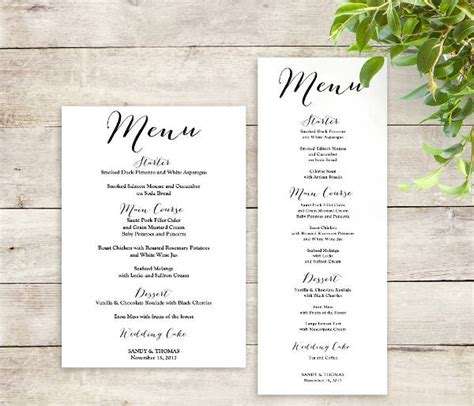 free sle wedding menu template wedding menu template