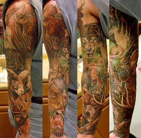 animal sleeve tattoo designs animal tattoos on sleeve