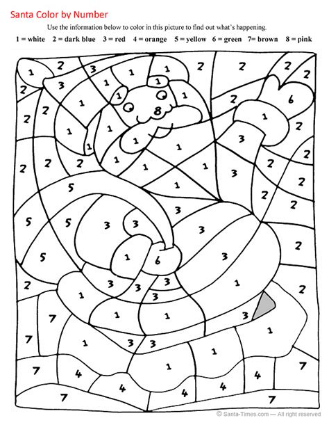 christmas color by number free printable coloring page