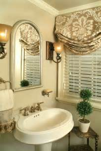 Relaxed roman shade pretty traditional bathroom window