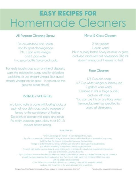 free printable easy recipes easy recipes for homemade cleaner free printable make