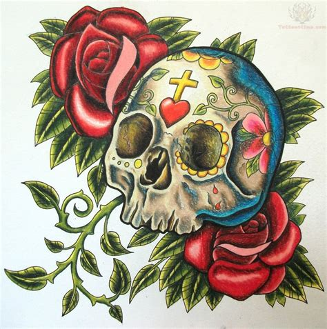 skull rose tattoos sugar skull images designs