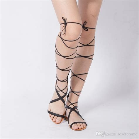 new 2016 shoes sandals lace up knee high boots gladiator tie string casual flat