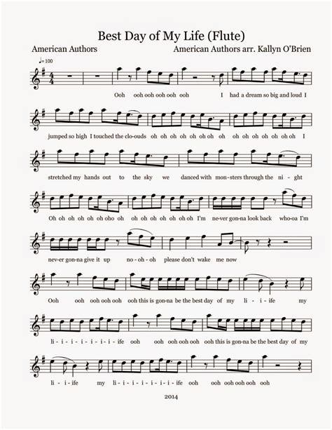 printable lyrics best day of my life flute sheet music best day of my life sheet music
