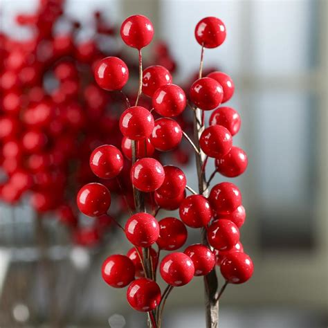 red artificial berry branch picks picks and stems