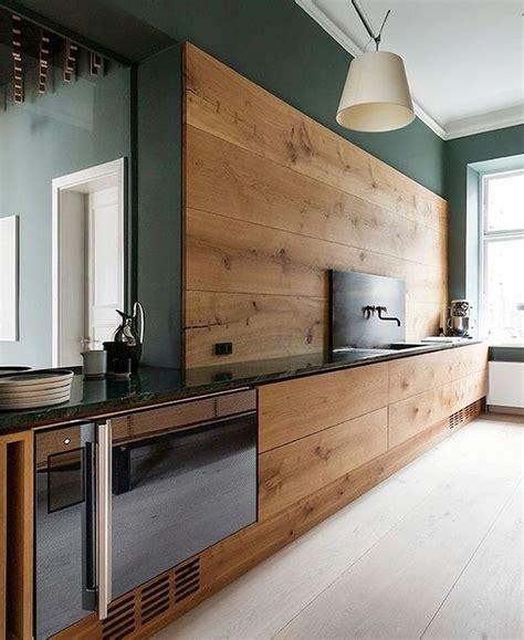 Walnut Kitchen Cabinets Modern by Modern Kitchen With Sleek Walnut Cabinets And Green