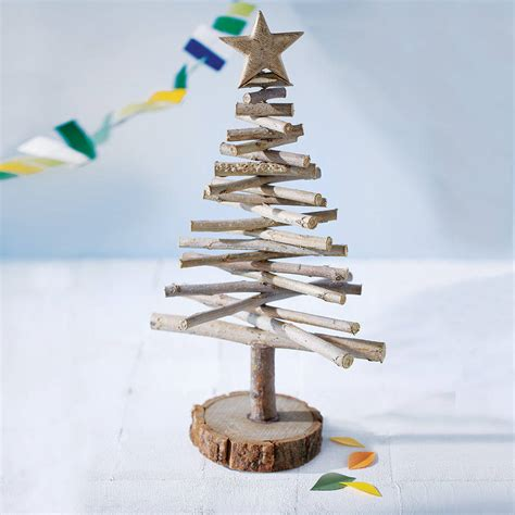 wooden log christmas tree by little red heart