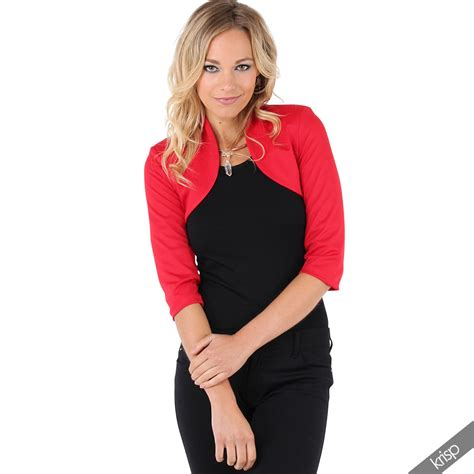 New Cropped For by New Womens Tailored Shrug 3 4 Sleeve Cropped Bolero Top