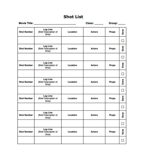 shot list template 10 download free documents in word pdf