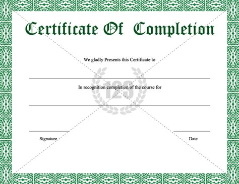 certificate of completion template free free certificate completion template