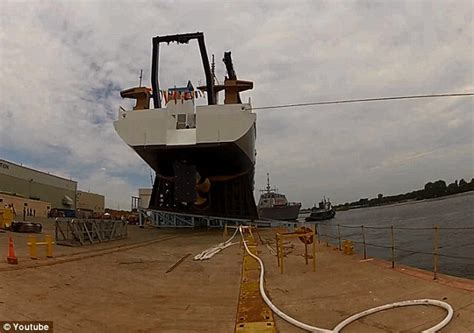 boat docking fails youtube dramatic video captures ship launch going horribly wrong