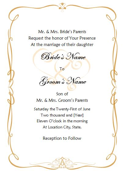 Wedding Invitations Templates Word by Wedding Invitation Template