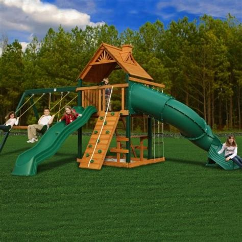 wooden backyard playsets gorilla playsets blue ridge mountaineer wood swing set