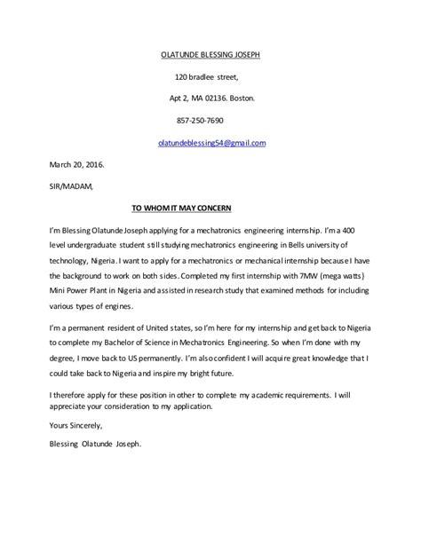 Wedding Blessing Letter by Olatunde Blessing Joseph Cover Letter