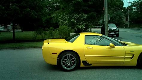 fhd yellow corvette c5 z06 startup and acceleration
