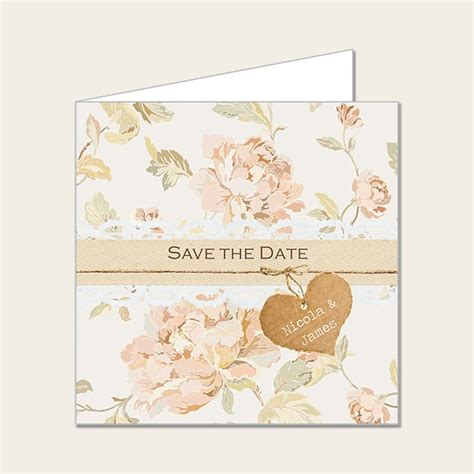 shabby chic flowers save the date cards