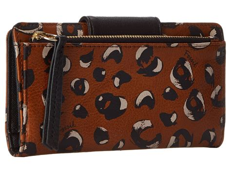 Fossil Tab Cheetah fossil sydney tab clutch in brown cheetah lyst