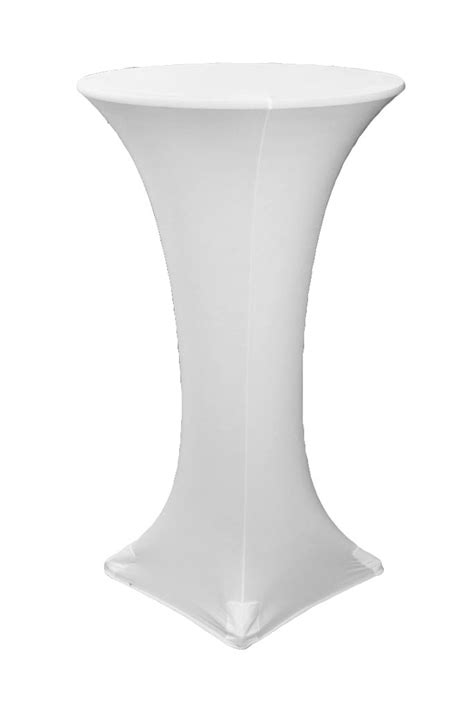 cocktail bar height table cover white stretch