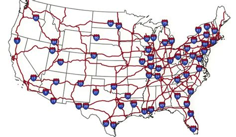 map of the united states with interstates and cities car travel with by interstate pitstops for