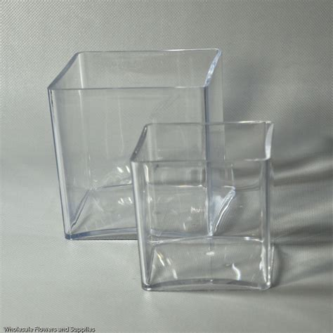 Plastic Vases by 4 Quot Plastic Cube Vase Clear Wholesale Flowers And Supplies