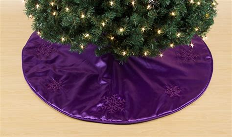 trim a home 174 purple satin tree skirt with embroidered