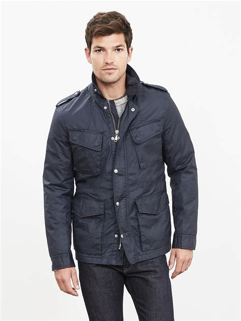 Jaket Parka Hoodie Pocket Navy Berkualitas banana republic navy cotton four pocket jacket in blue for preppy navy lyst