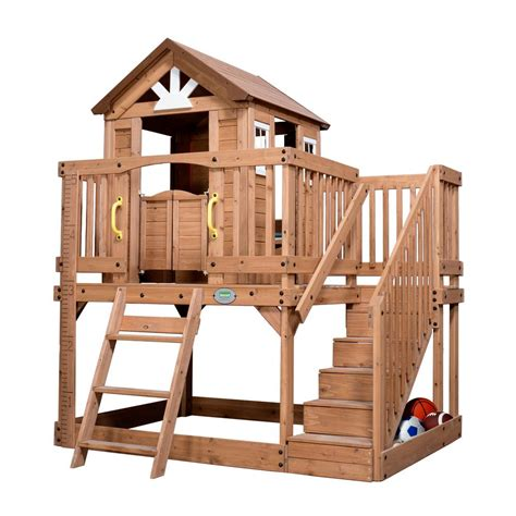 backyard cedar playhouse backyard discovery scenic heights cedar playhouse