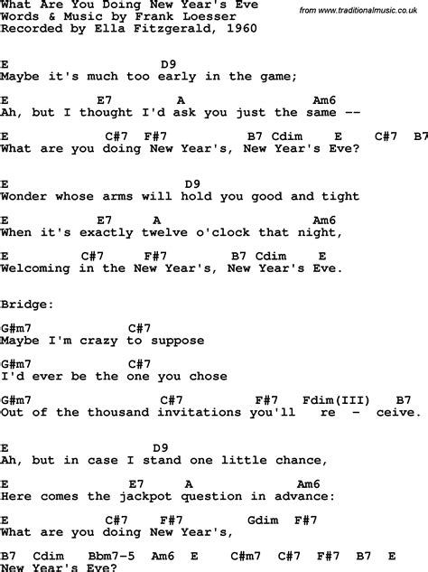 lyrics for new year song song lyrics with guitar chords for what are you doing new