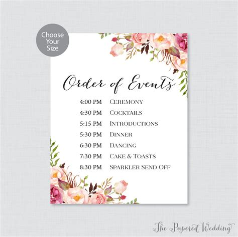 wedding order of events printable order of events sign pink wedding order of events