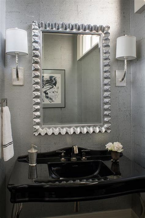 black and silver bathroom ideas powder room with blue wallpaper and silver mirror