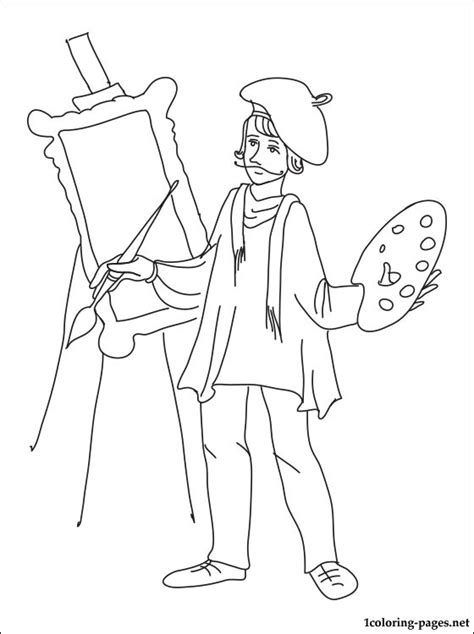 coloring book artist painter coloring page coloring pages
