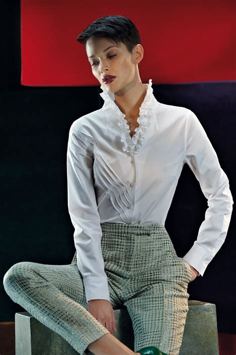 Loeffler Randall Ruffle Collar Blouse by A Can Never Many White Blouse Naracamicie
