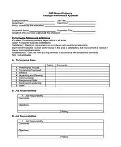 employee performance evaluation template sle employee performance evaluation template 7 free